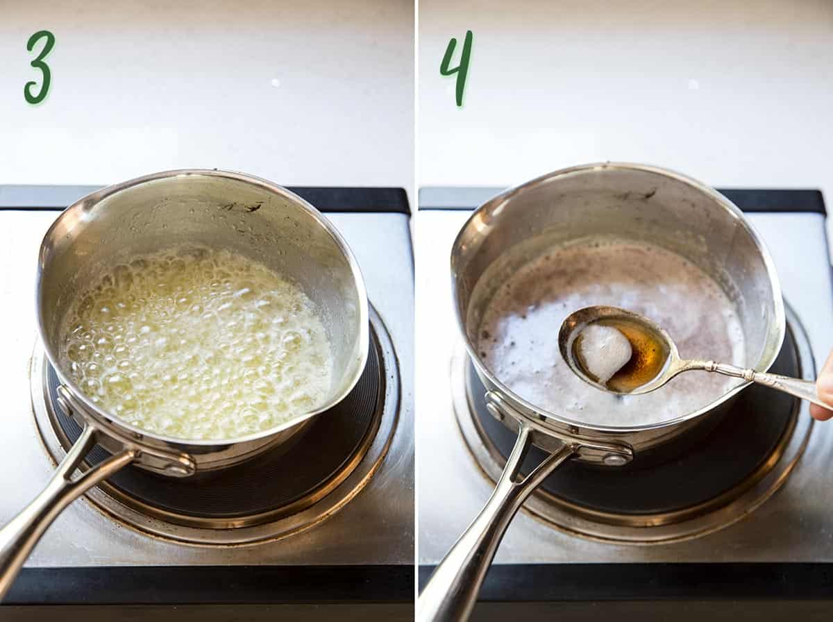 Collage of 2 photos showing the process of making brown butter.