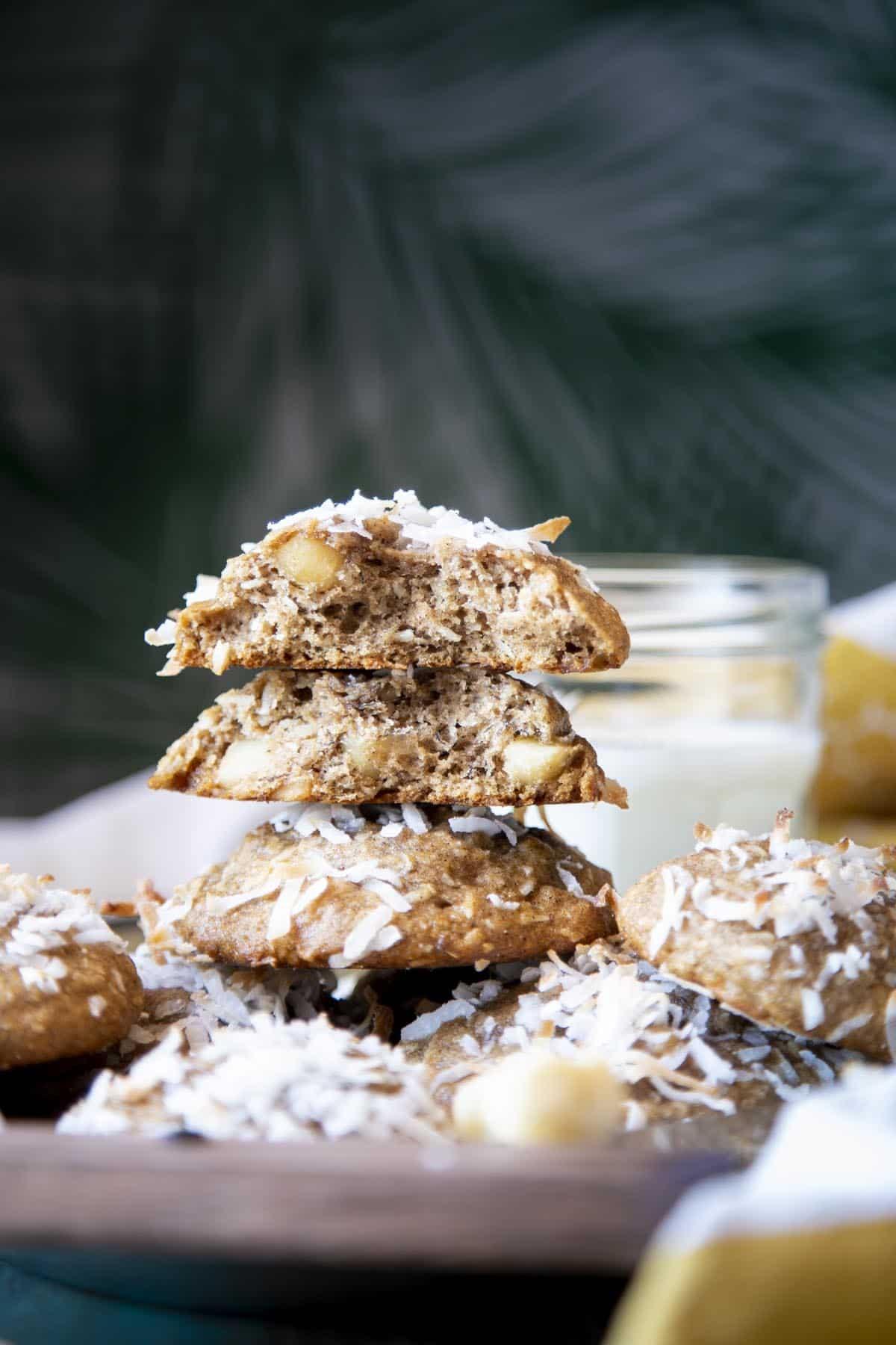 A stack of banana cookies.