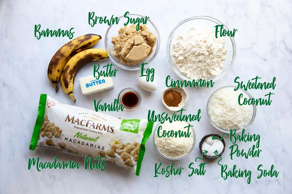 Ingredients for banana cookies with text overlay.