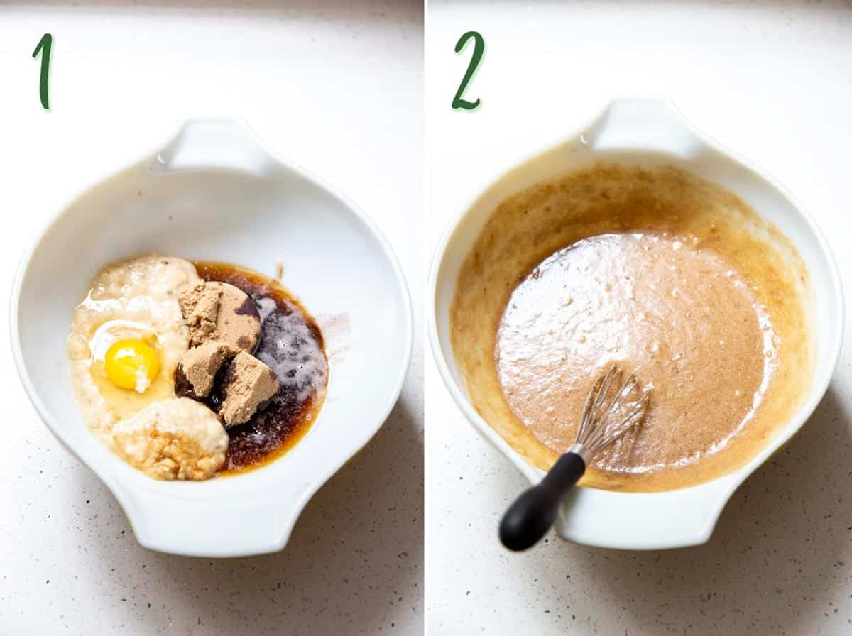 Collage of 2 photos mixing the wet ingredients in a mixing bowl.
