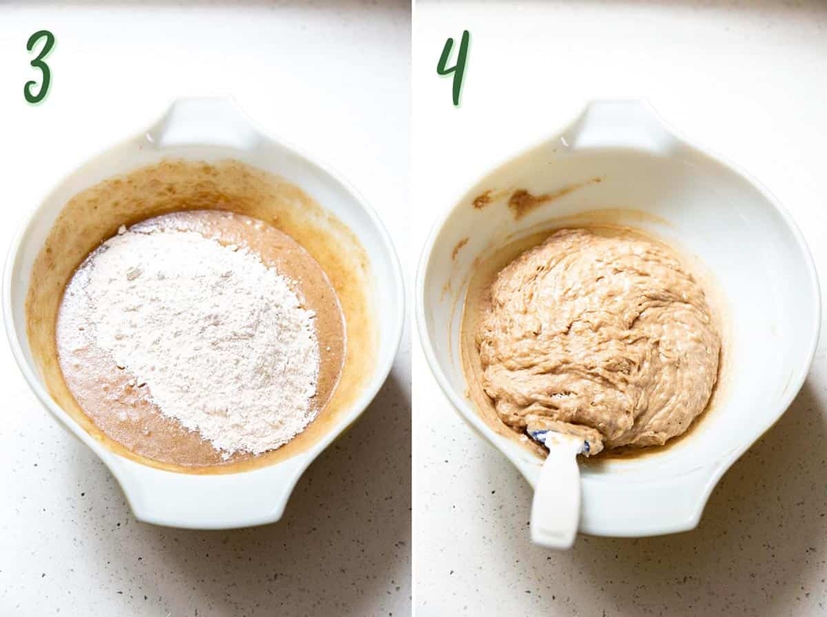 Collage of 2 photos adding dry ingredients into wet ingredients to form cookie dough.