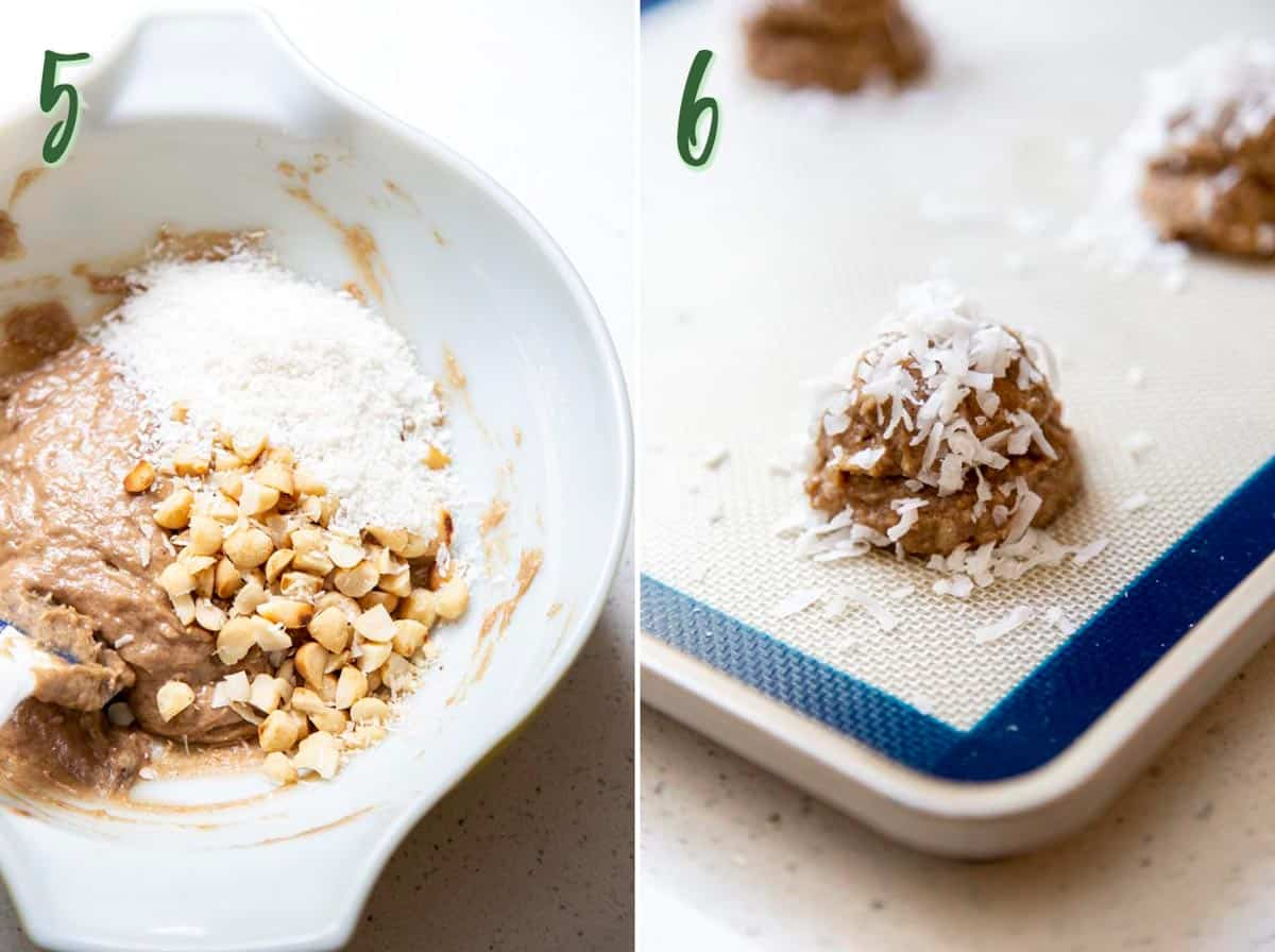 Collage of 2 photos showing fillings are mixed into the cookie dough and divided into dough balls.