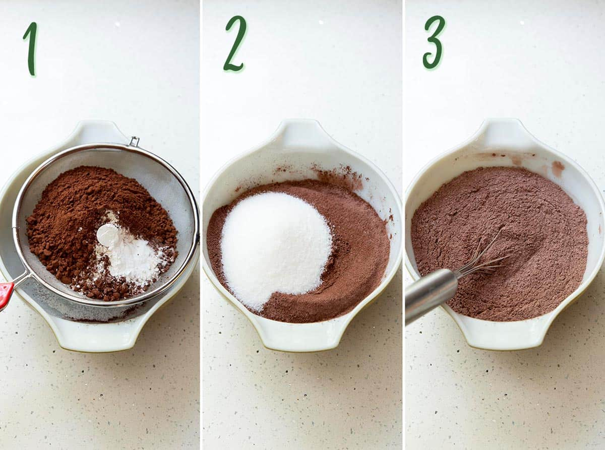 Collage of 3 photos showing mixing of dry ingredients.