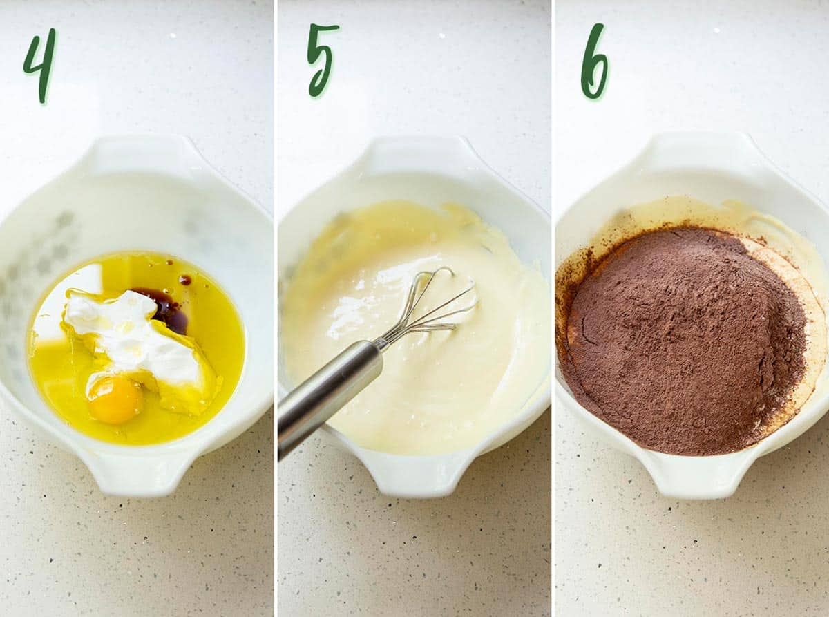 Collage of 3 photos showing wet ingredients being mixed together and dry ingredients added.