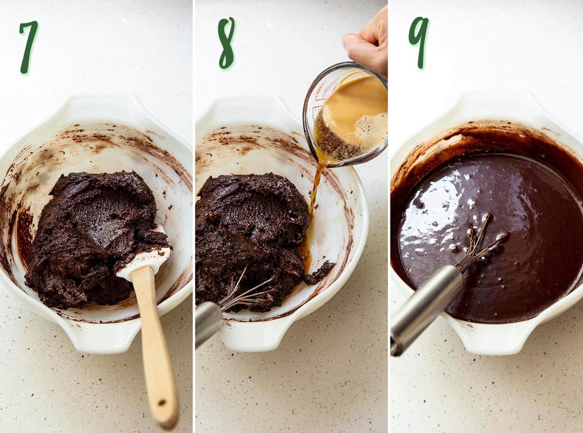 Collage of 3 photos showing chocolate cake batter is mixed with hot coffee.