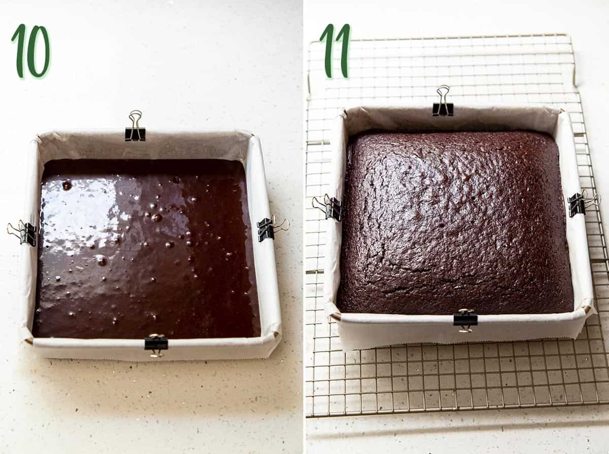 Collage of 2 photos showing chocolate cake batter in a pan and after it's baked.