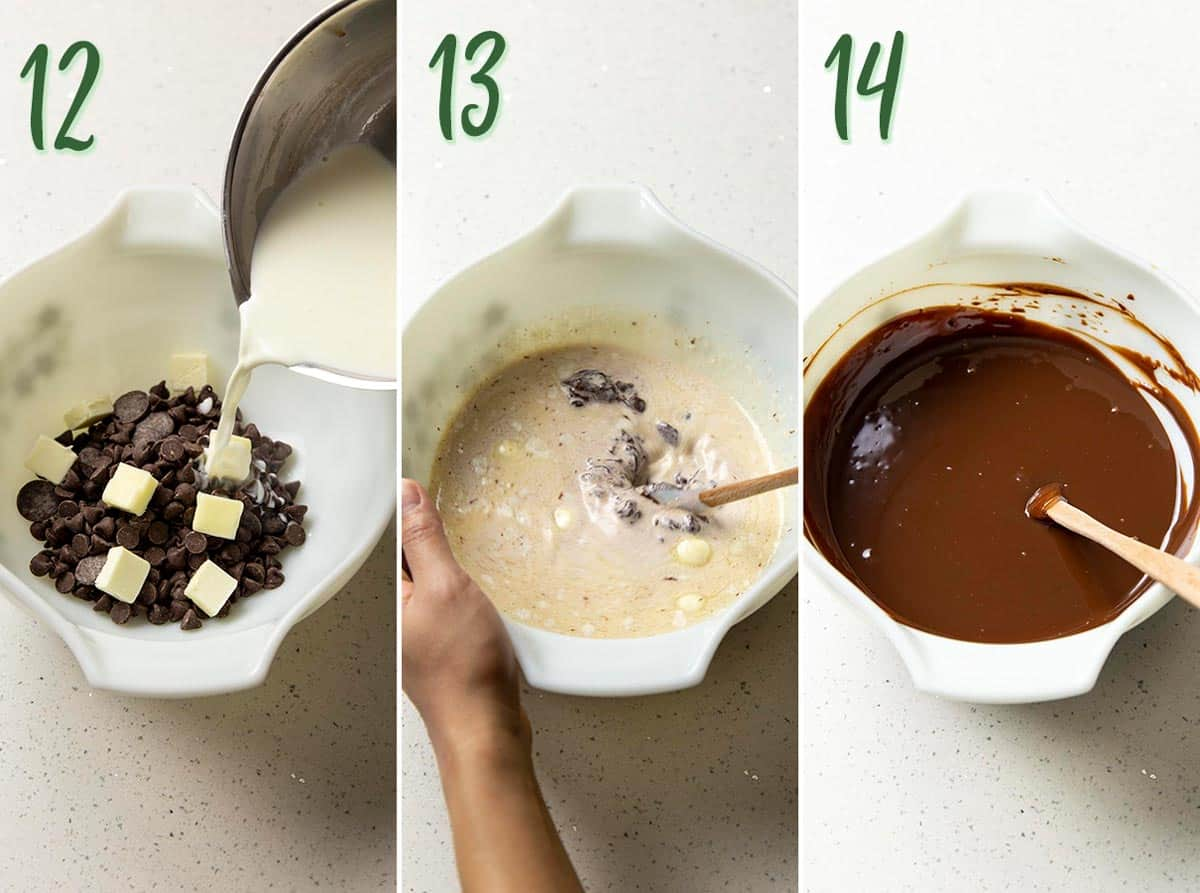 Collage of 3 photos showing how to make chocolate ganache.