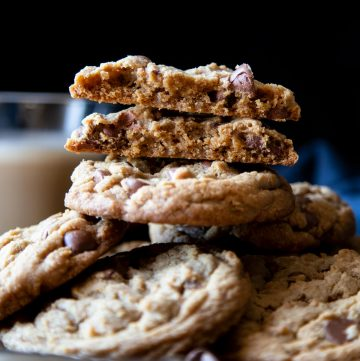 A stack of brown butter chocolate chip cookies.