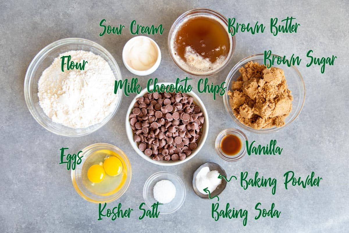 Ingredients for making chocolate chip cookies with brown butter.
