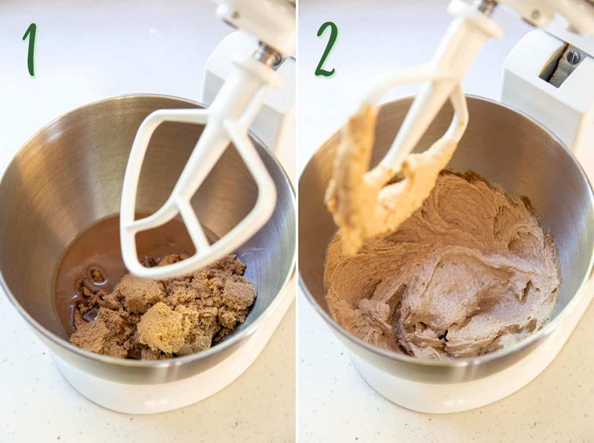 Collage of 2 photos showing butter and sugar being beaten together.