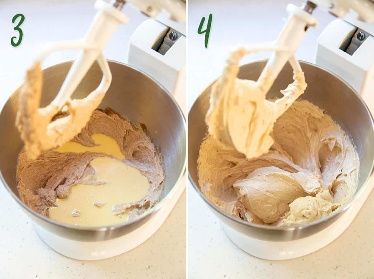 Collage of 2 photos showing the rest of the wet ingredients being beaten until creamy.