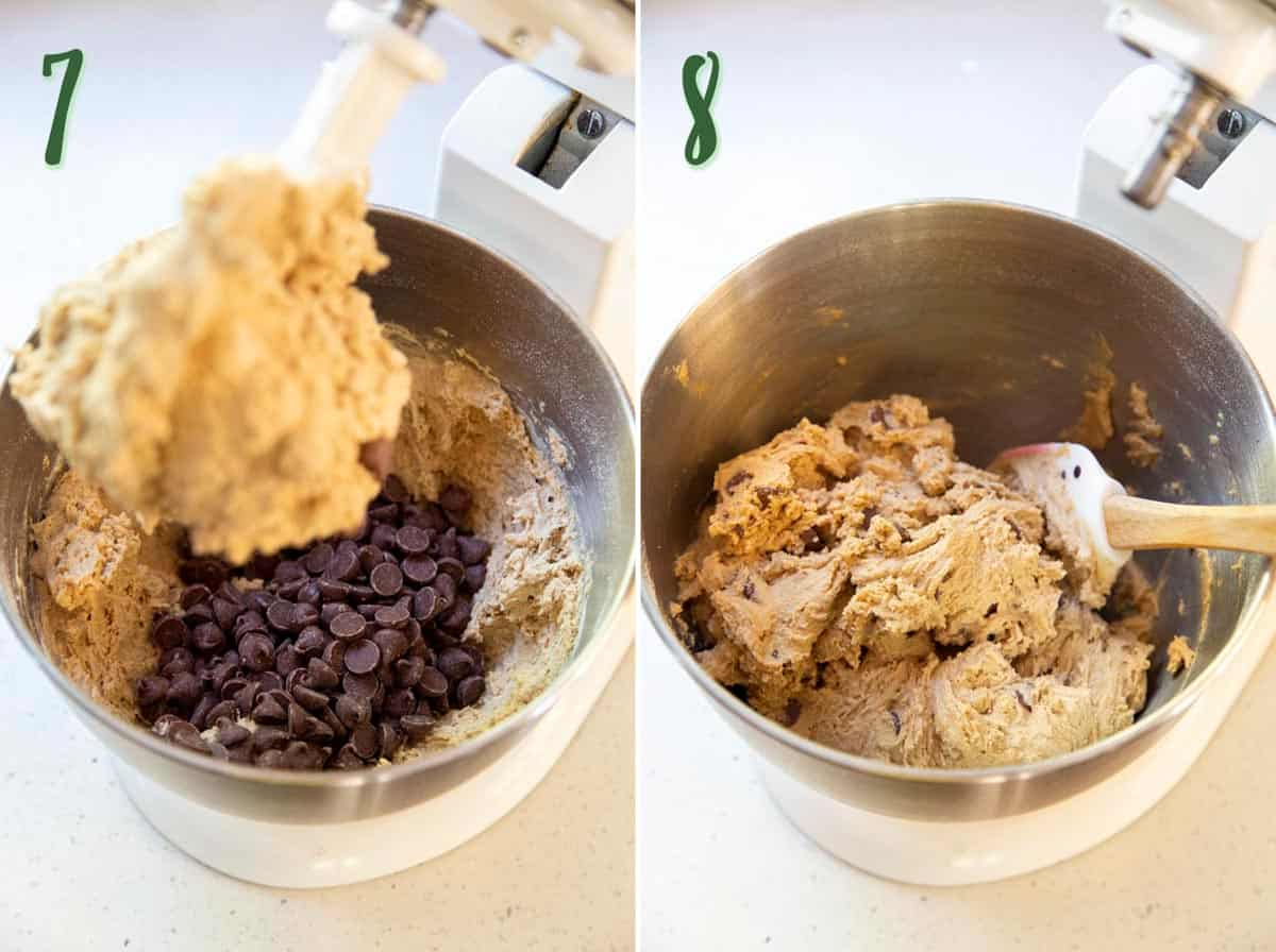 Collage of 2 photos showing chocolate chips being stirred into the cookie dough.