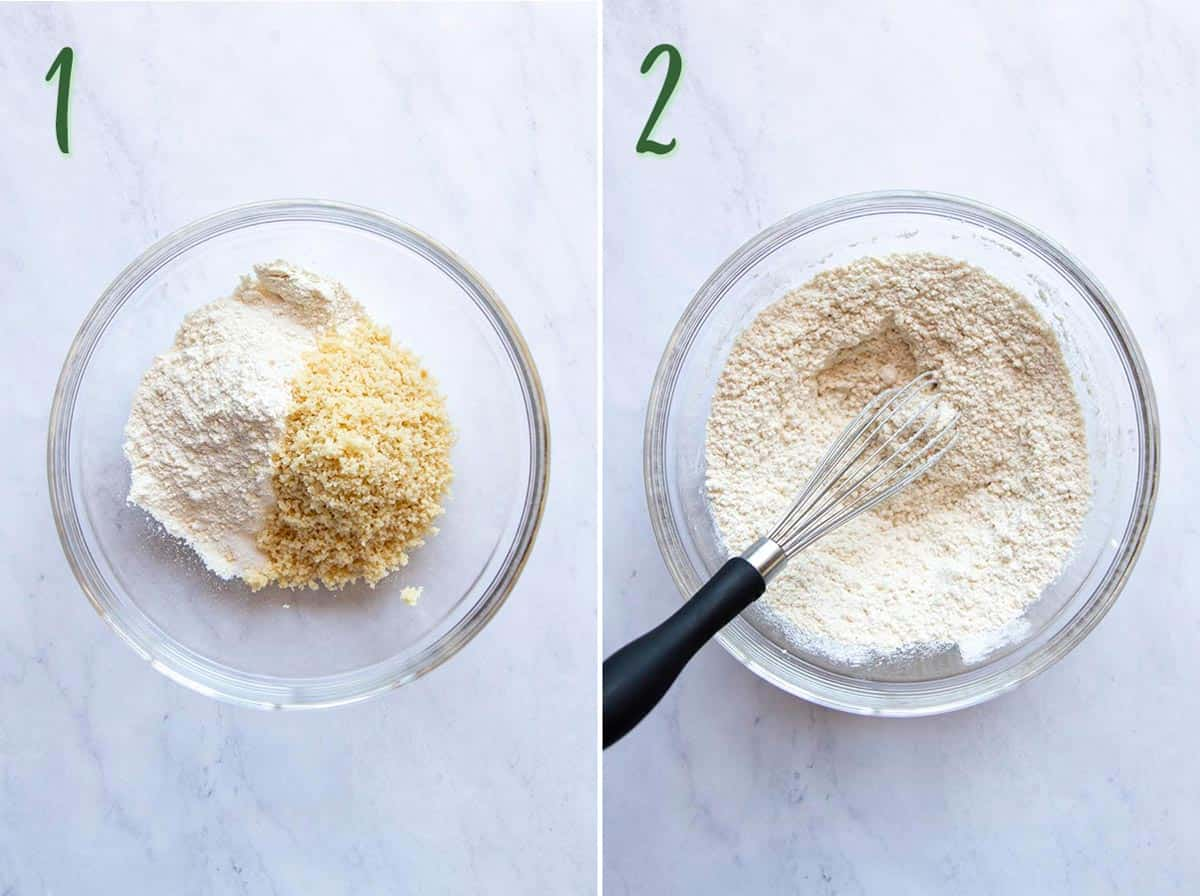 Collage of 2 photos: mixing the dry ingredients for the macadamia shortbread crust.