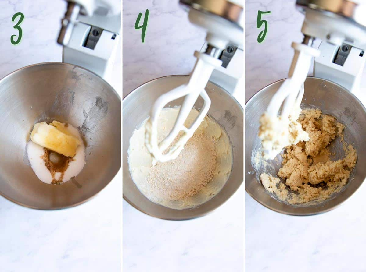 Collage of 3 photos: making macadamia shortbread crust in a stand mixer.