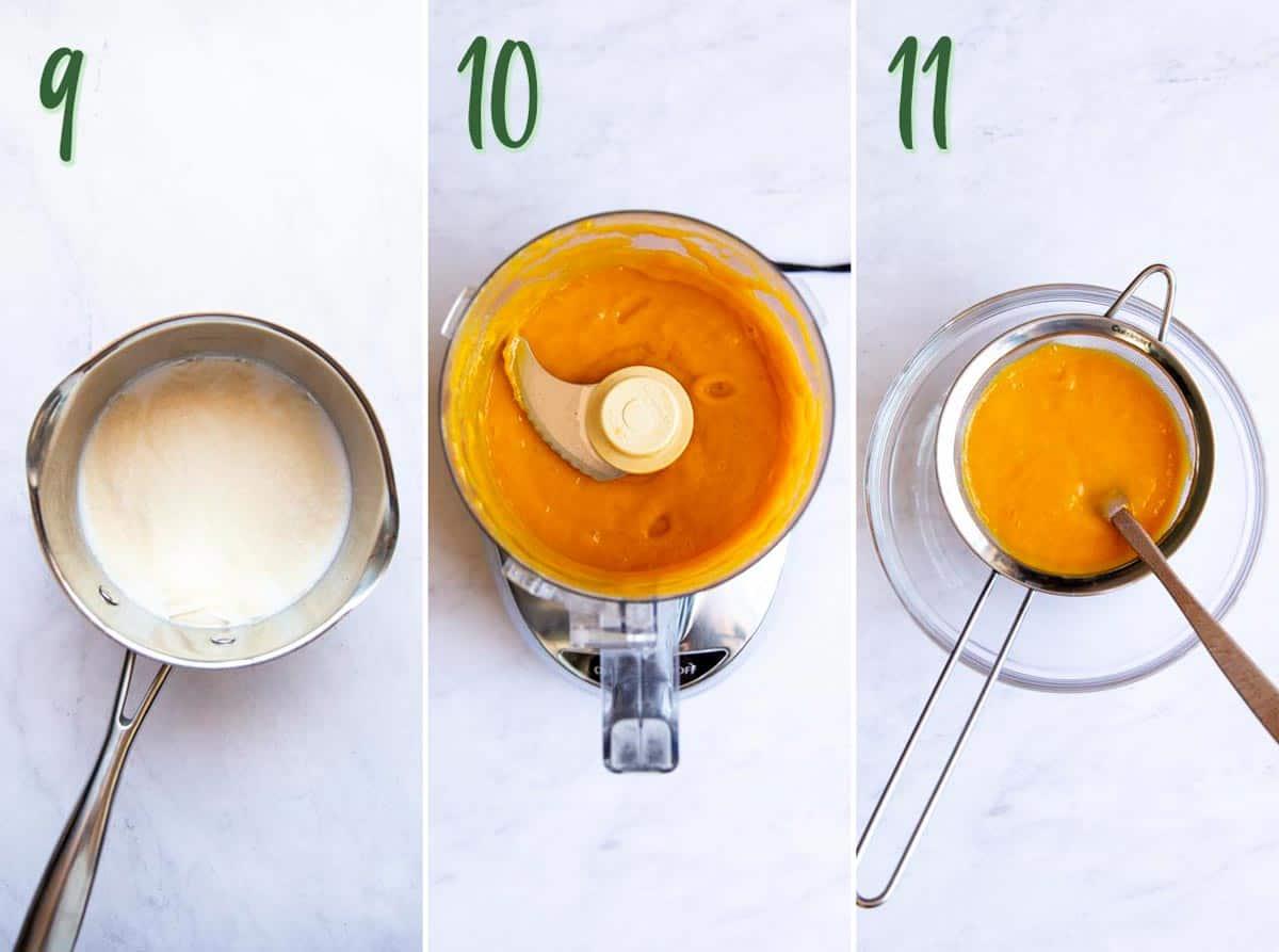 Collage of 3 photos: blooming gelatin in coconut milk, pureeing mango.