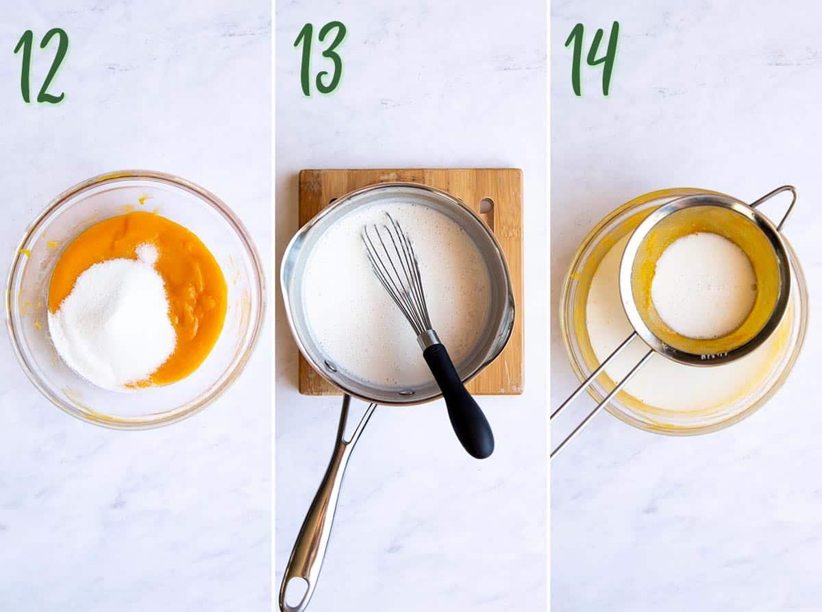 Collage of 3 photos: mixing sugar with mango puree, boiling gelatine mixture, straining gelatine mixture into mango mixture.