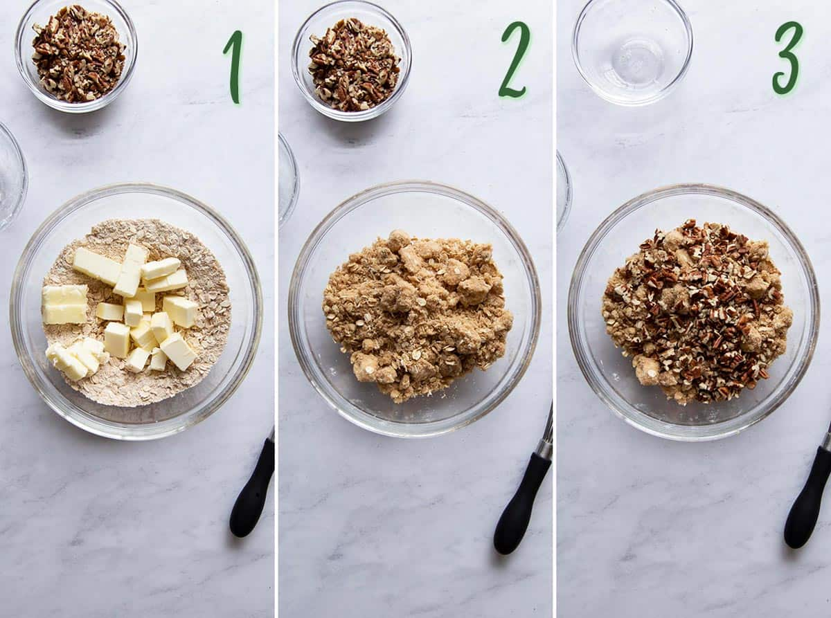 Collage of 3 photos showing how to make the pecan crumble.