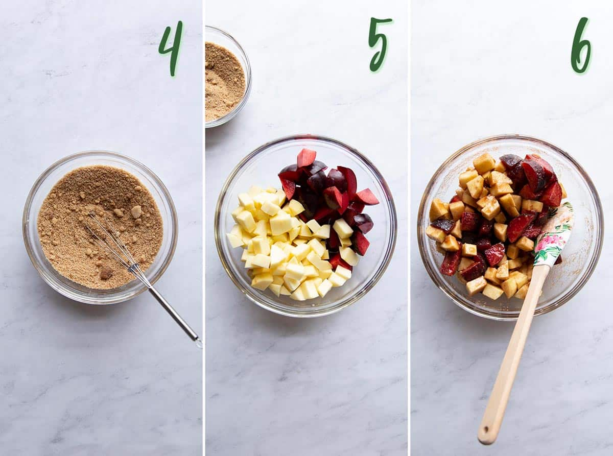Collage of 3 photos showing how to make the apple and plum filling.