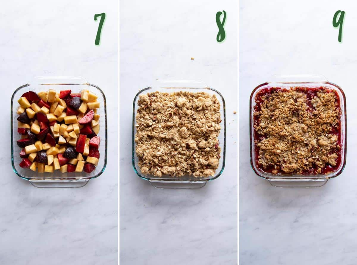 Collage of 3 photos showing how to assemble and bake the crumble.